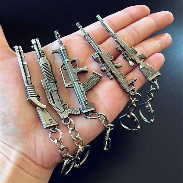 Gun KeyChains Simulation Weapon Model Keychain Male Mini Gun Car Keyring AWP Rifle Sniper Cool Mens Jewelry Wholesale.