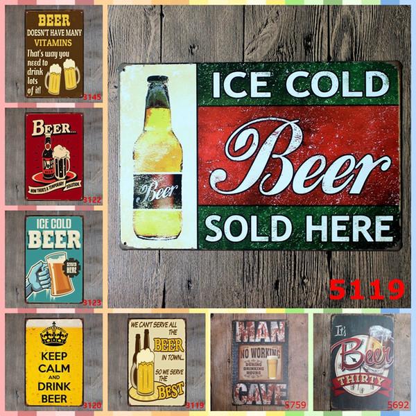 Acheter Glace Froid De Bière Vendu Ici 20 30 Cm Peinture Métal Tin Signs Chambre Mur Décorations De Luxe Décor à La Maison Mur Art De 5 93 Du