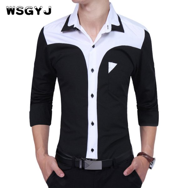 WSGYJ  2017 Fashion Male Shirt Long-Sleeves Tops Oversize Business Suits Hit Colors Shirt Mens Dress Shirts Slim Men