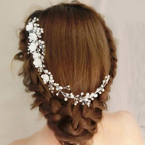 Fashion White Pearls Bridal Hair Pins Floral Flower Jewelry Bridal Hair Half Up Wedding Hair Accessories Vintage Wreath Wedding Comb Bridesmaid Hair