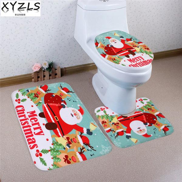 XYZLS 3 Pcs Brand New Joyeux Noël Anti Slip Toilette Tapis De Salle De Bains Tapis De Toilette pour Trois Sets de Tapis De Bain Home Decor