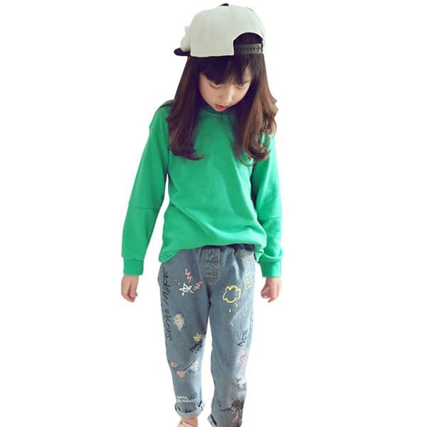 Pantalon Enfant De Bande Dessinée Filles Broderie Denim Pants 2018 nouveau Graffiti Impression Casual Jeans 2018 nouveau
