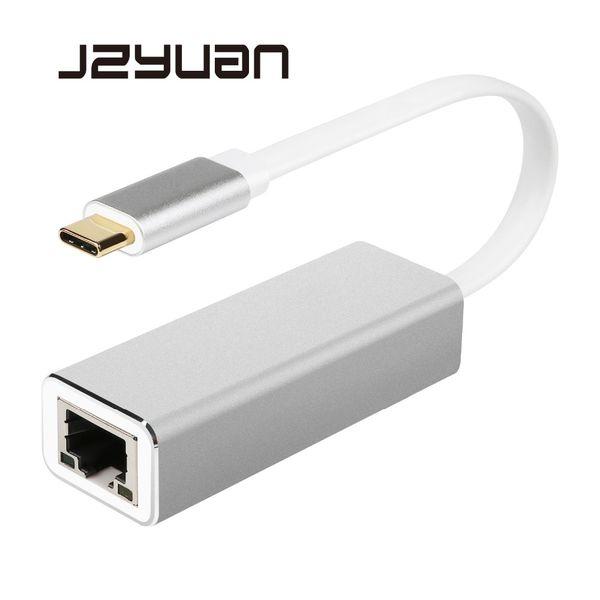 JZYuan Type C USB-C USB 3.0 to RJ45 LAN Adapter Gigabit Ethernet 10/100/1000Mbps LAN Network Card Adapter For MacBook ChromeBook