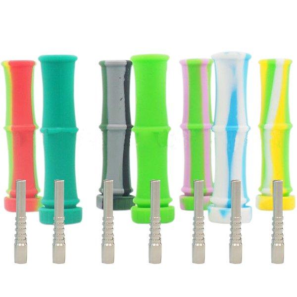 Bong di silicone colorato di bambù Collettore di nettare di vetro di fumo Pipa ad acqua Narghilè portatile Tubi di tabacco Erba secca Cera vaporizzatore All'ingrosso