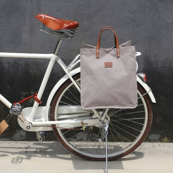 wholesale Retro Bicycle Pannier Pouch Bike Rear Seat Carrier Bag Grey Cycling Parts Canvas Shopping Bags Pack Hook Attach