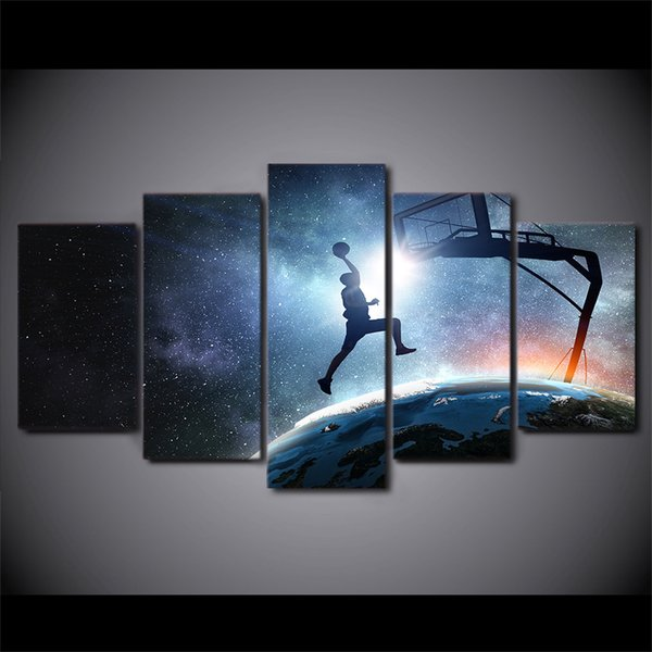 HD Printed 5 Pieces Canvas Art Painting Playing Basketball Poster Starry Sky Wall Pictures for Home Decor Free Shipping CU-2852C