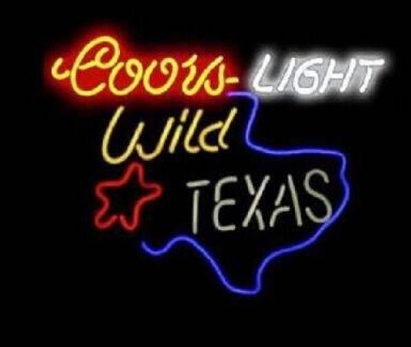 "Custom New Coors Light Wild Texas Real Glass Neon Sign light Beer Bar Sign Send need photo 19x15"""