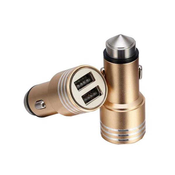 Cargador dual del coche del USB 3.1 Adaptador redondo del cargador del martillo de la seguridad del metal de aluminio para la cámara digital 2018 del teléfono Ipad