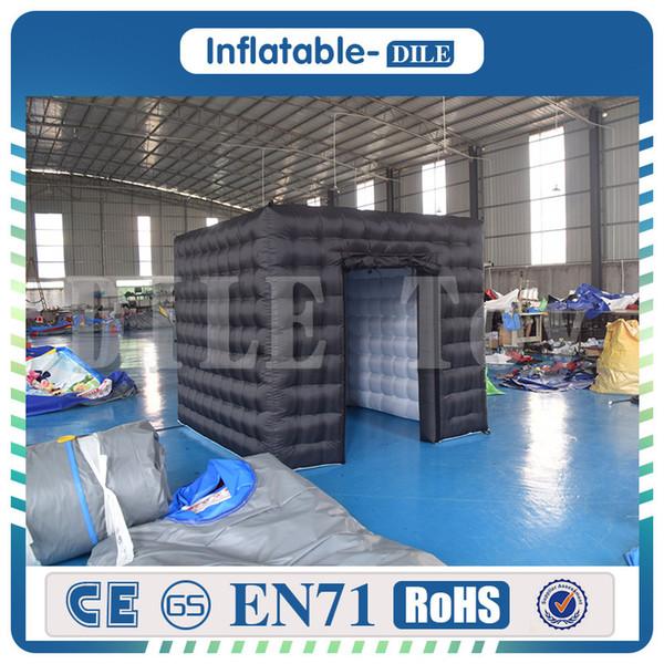 A barraca inflável do cubo da cabine inflável da foto da porta dobro conduziu a barraca inflável da foto A barraca inflável da iluminação do diodo emissor de luz com bomba de ar