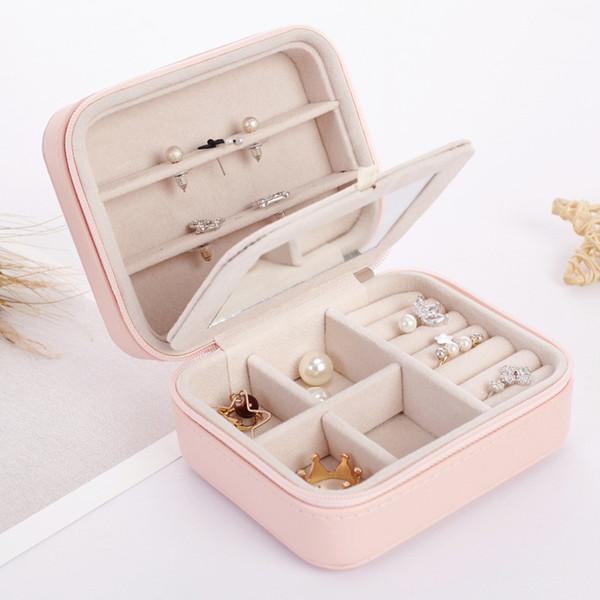 Boîte de rangement carrée de bijoux facile à porter organisateur anneaux boucle d'oreille collier et bracelet boîtes en cuir avec miroir sacs à bijoux GGA1353
