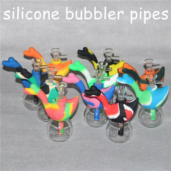 Colorful Hookahs Silicone Bongs swan silicone water pipes bubble pipes dab rig 14 mm joint glass bowl and 3.6inch silicone downstem DHL