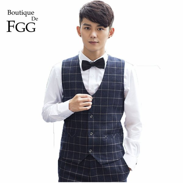 Boutique De FGG China SizeS-3XL British Plaid Black Men Formal Suit Vest For Wedding Party Groom Waistcoats Colete Masculino