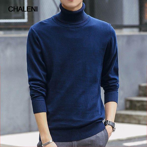 Мода свитер зима Новый высокая шея Джокер дна рубашка сплошной цвет мужчины свитер QC-518B-C507-204