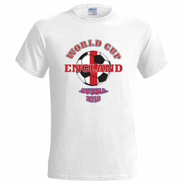 ENGLAND WORLD CUP TEXT AND BALL RUSSIA 2018 MENS T SHIRT FOOTBALL SOCCER TEAM
