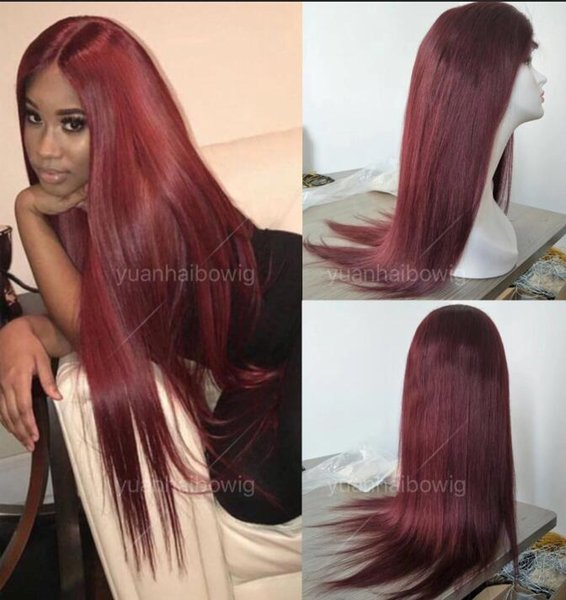 Top Grade Burgundy Full Lace Wig Virgin Peruvian Human Hair Straight Glueless Lace Front Wig Free Shipping