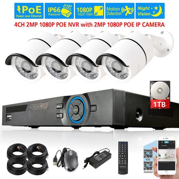 4CH PoE 1080P NVR CCTV System 2.0MP Outdoor IP Camera 36pcs LEDs 4CH 1080P NVR Recorder Video Security Camera Surveillance kit