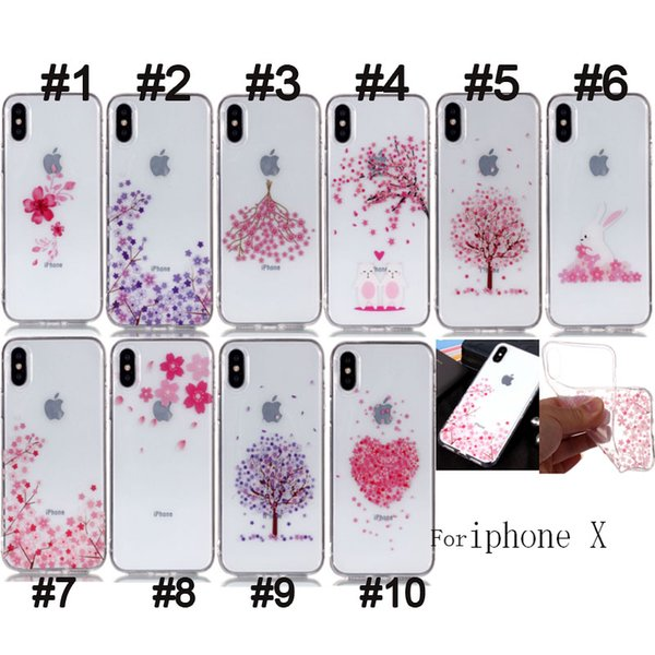 For Iphone X 8 7 6 6S Plus 5 5S SE 5C Top Clear Transparent skin Flower print Design TPU Gel Soft Phone Back Case Cover 100pcs