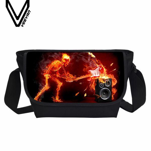 VEEVANV Men Messenger Bags Fashion Fire Skull 3D Prints Hands School Bookbag New Design Shoulder Bag Casual Crossbody Bag