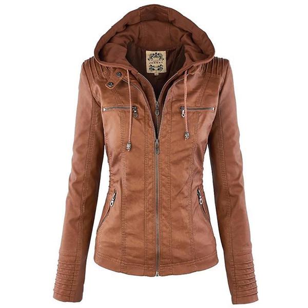 Women Jackets Female Faux Leather Jacket Long Sleeve Hat Removable Basic Coats Waterproof Windproof Winter Women's Clothing