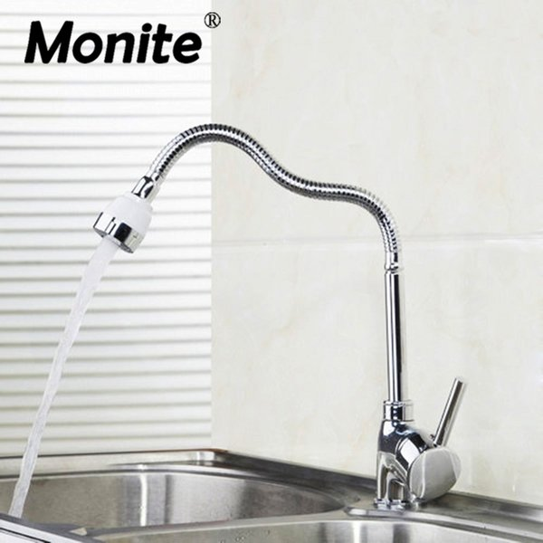 Flexible Chrome Brass Kitchen Faucet Swivel Spout Basin Sink Tap Deck Mounted Faucets Mixer Tap spray water in two ways
