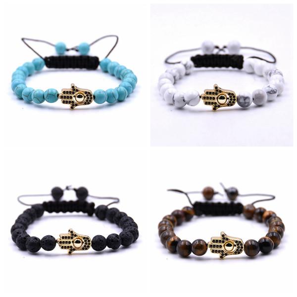 10pc/set unique jewelry cheap adjustable handmade gift friendship white howlite beads 8mm gold copper evil eye bracelet for women men
