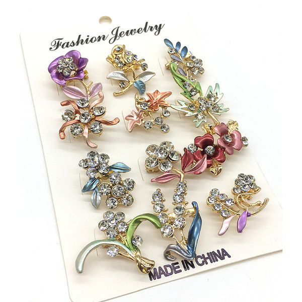 New Mini Hijab Pins Spille di smalto per donna Commercio all'ingrosso casuale 12PCS / Card Perni di gioielli musulmani di cristallo Hijab Pins disegni misti
