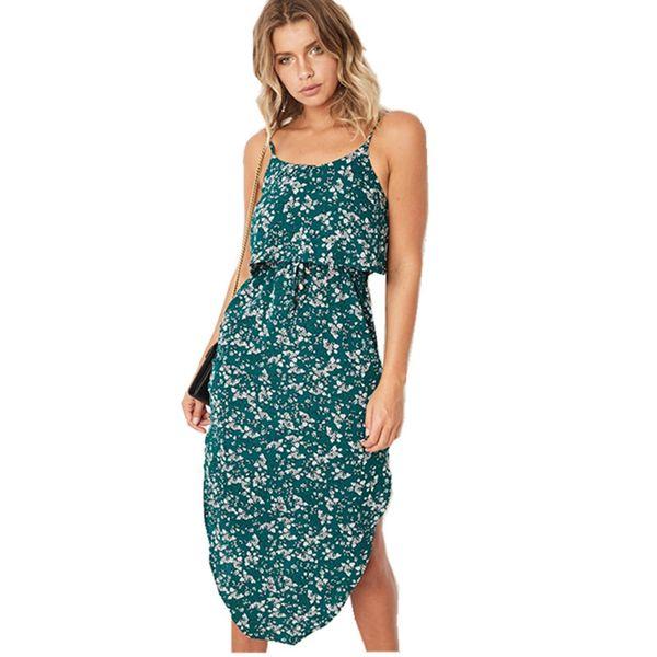 good quality Women's Dress Summer 2019 Casual Sexy Printed Straps Loose Lrregular Dress Women Beach Bohemian Midi Dress 15 Color