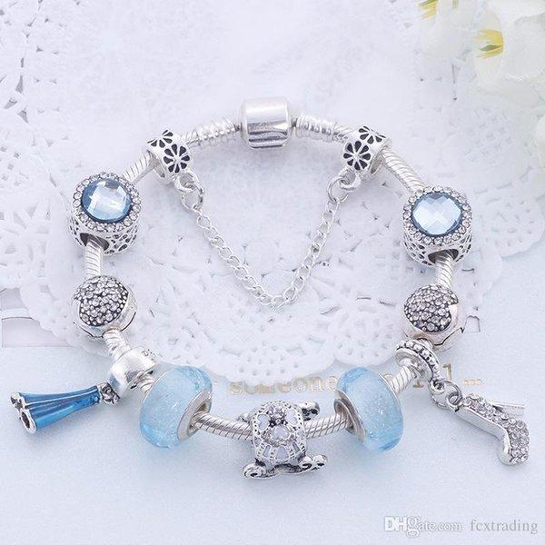 Nuevo estilo mixto Charm Bracelet 925 pulseras de plata para las mujeres Vintga pulsera Purple Crystal Beads Diy joyería de moda para regalo de navidad