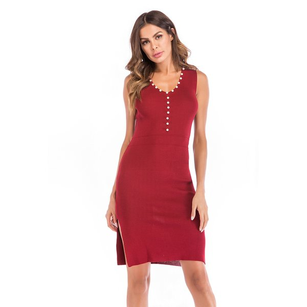 2019 New fashion women's dress red color pearl button dress lady bodycon sexy split knitted dresses for women
