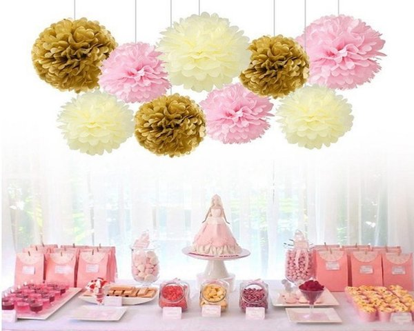 Pom Poms Flower Tissue Paper flowers craft paper flower Balls for wedding room Decoration Party Supplies diy