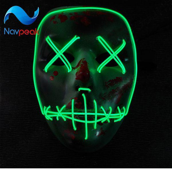 5pcs/lot Grimace LED glow mask Halloween cold light party mask fluorescence macka mascara airsoft
