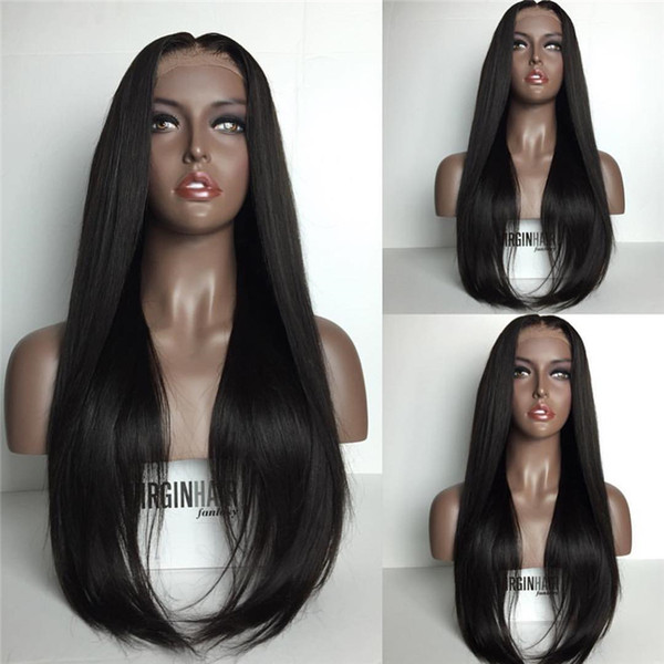 Straight Lace Front Wig Peruvian Virgin Hair Full Fringe Wig Human Hair Glueless Full Lace Wig With Bangs Bleached Knots For Black Women