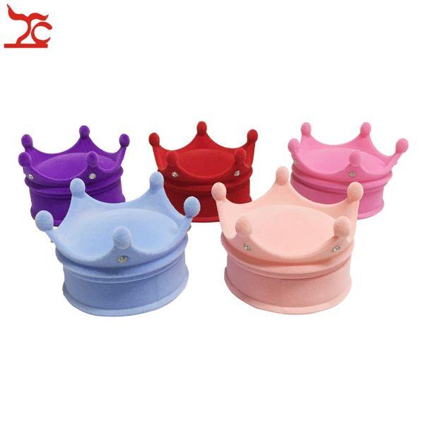 Wholesale 24Pcs Princess Velvet Packaging Box Fashion Ring Holder Earring Stud Pendant Organizer Storage Gift Cases 6*4.5cm
