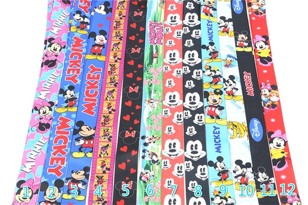 Dhl whole ale 100pc new cartoon mou e mobile phone card lanyard neck lanyard cell 12 color can pick