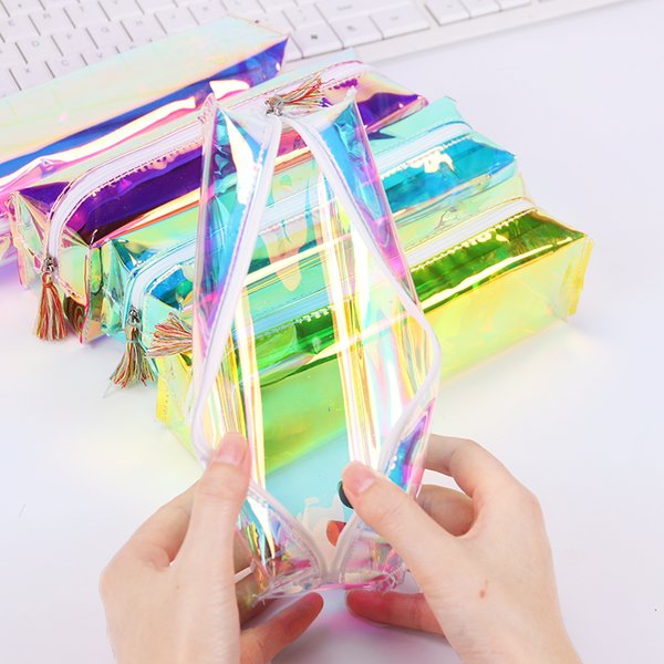 PVC Laser Transparent Pencil Case bags Fashion boys girls students clear Stationery Pen Box Bag School Supply Pouch gifts make up bag