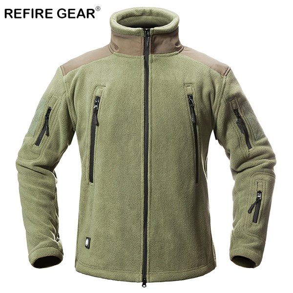 ReFire Gear Winter Thermal Outdoor Hiking Fleece Jackets Men Warm Military Tactical Jackets Coat Male Multi Pockets Army Jackets 2019