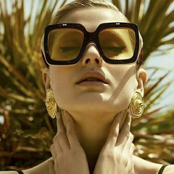 Unique Designer Women Oversized Square Sunglasses Flip Up Clear Lens Rerto Vintage Sun Glasses Goggles Eyewear New De Sol