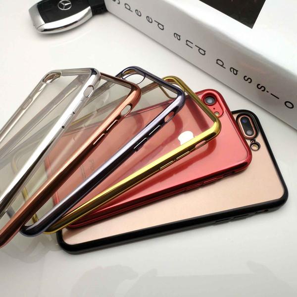 Placage de caoutchouc de cristal clair ultra mince de haute qualité de galvanoplastie TPU Soft Mobile Phone Case pour IphoneX 7 6 MPS7