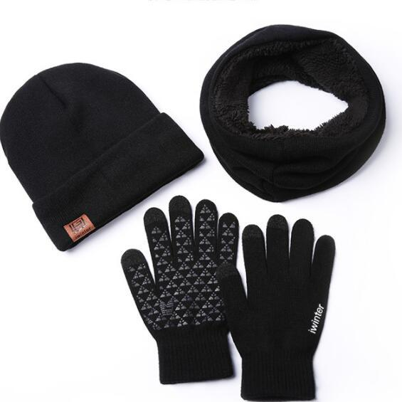 autumn and winter hat, scarf gloves knitted three-piece suit wool and wool for men and women to keep warm