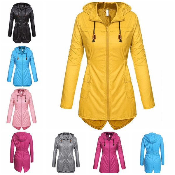 European autumn winter explosions outdoor windbreaker long-sleeved hooded raincoat, yellow, pink, gray, black, support mixed batch