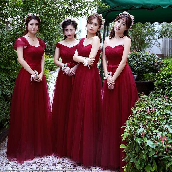 Robe De Soriee abiti da damigella d'onore semplici Tulle rosso vino vino pavimento-lunghezza elegante prom abito da sposa