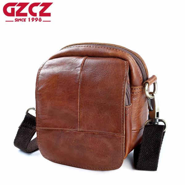 GZCZ Crazy Horse Genuíno Couro Messenger Bag Mens Moda Ombro Crossbody Bolsa Bolsas Estilingue Peito Para Masculino Ferrolho Pequeno