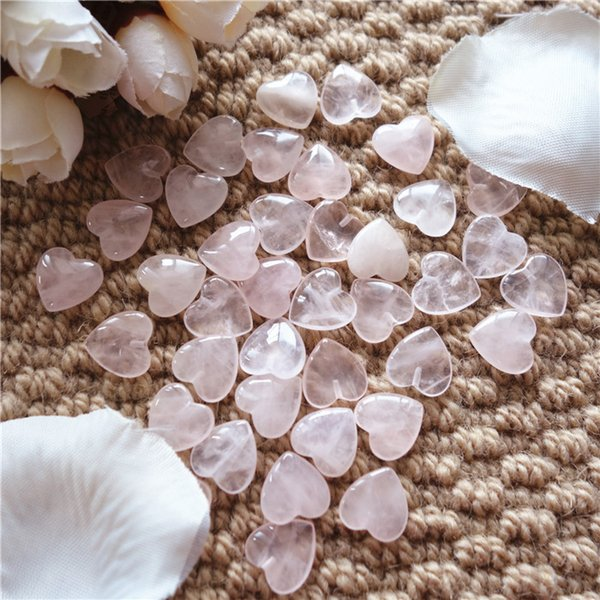 13*13*4mm Heart Shape Rose Quartz With Half Hole Natural Gemstone Loose Beads For Jewelry DIY 30pcs/lot