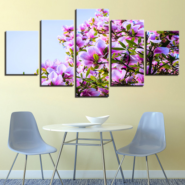Modular Canvas Paintings Printed Poster Wall Art 5 Pieces Beautiful Purple Magnolia Flowers Natural Scenery Pictures Home Decor