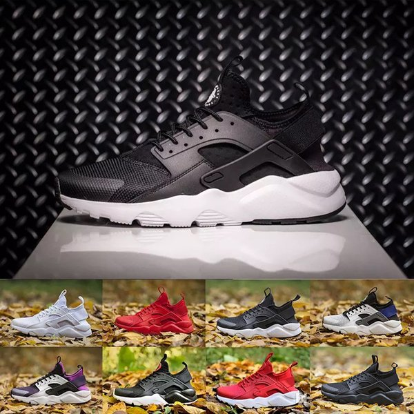 (With Box)2018 High Quality huarache IV 4 running Shoes For Men Women Black white red Grey Sneakers Huaraches Jogging Sports Shoes