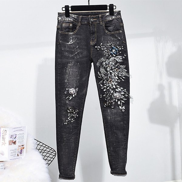 Black Stretch Skinny Jeans Elastic Denim Jean Pencil Skinny Pants Sequined Slim Casual Trousers Lace Girls Feminino