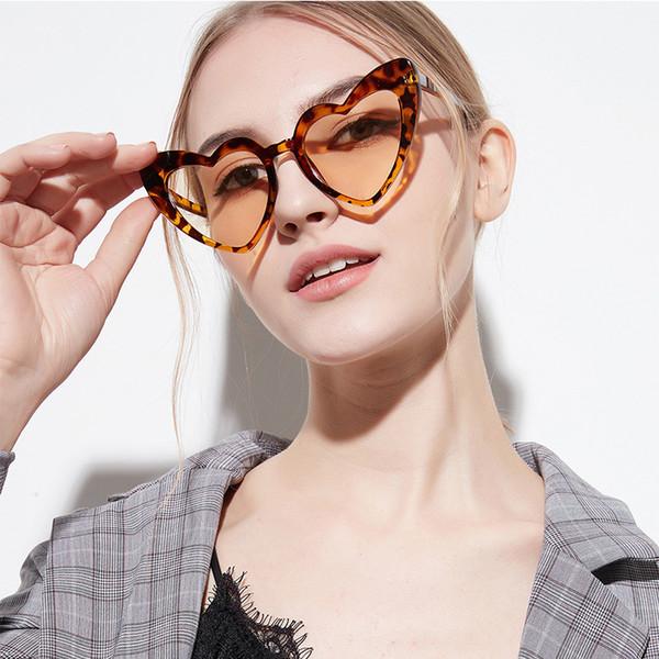 ROYAL GIRL Love Heart Sunglasses Women 2018 Brand Designer Cute Cat Eye Sun Glasses Shiny Glittery Frames Oculos UV400 SS116