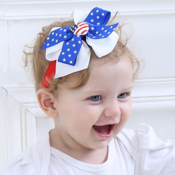 8pcs Kids Elastic Headwear for National Day Stars Striped Bowknot Headdress Child Hairbands Hairgrips Headband Hair Accessories HC108