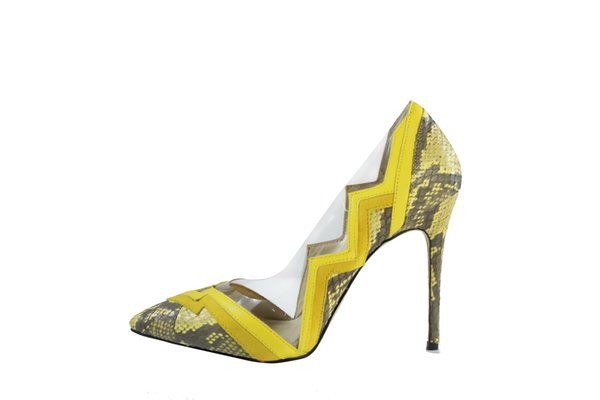 Yellow Dress Shoes Thin high heels Slip on Wedding Party Evening Pumps Hot New Spring 2018