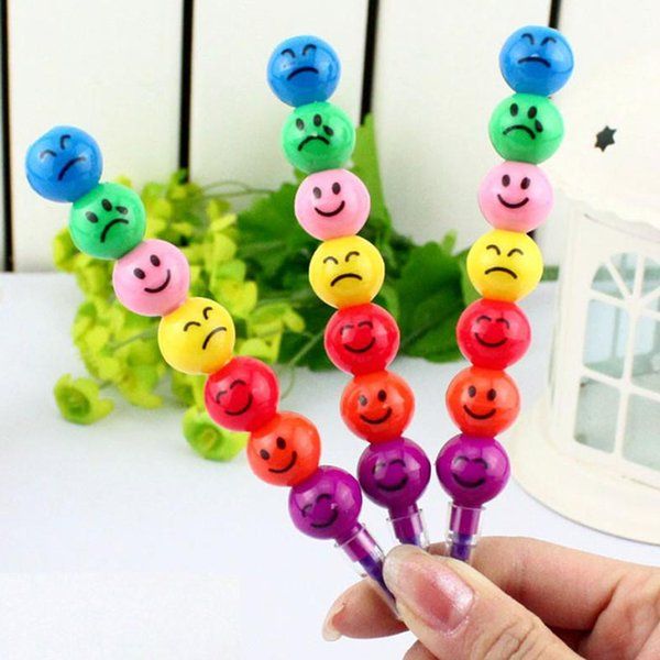 Hot 7 Colors Cute Stacker Swap Smile Face Crayons Ice sugar gourd Children Drawing Gift 12cm Long